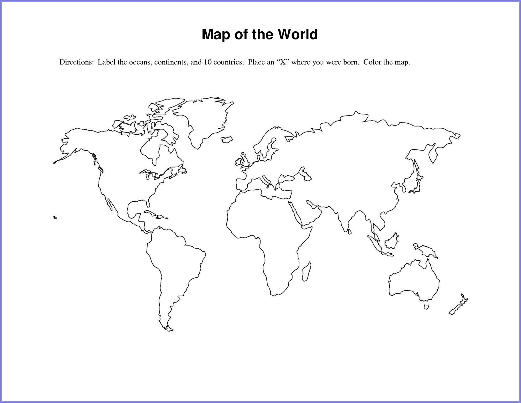 Large Size Blank World Map