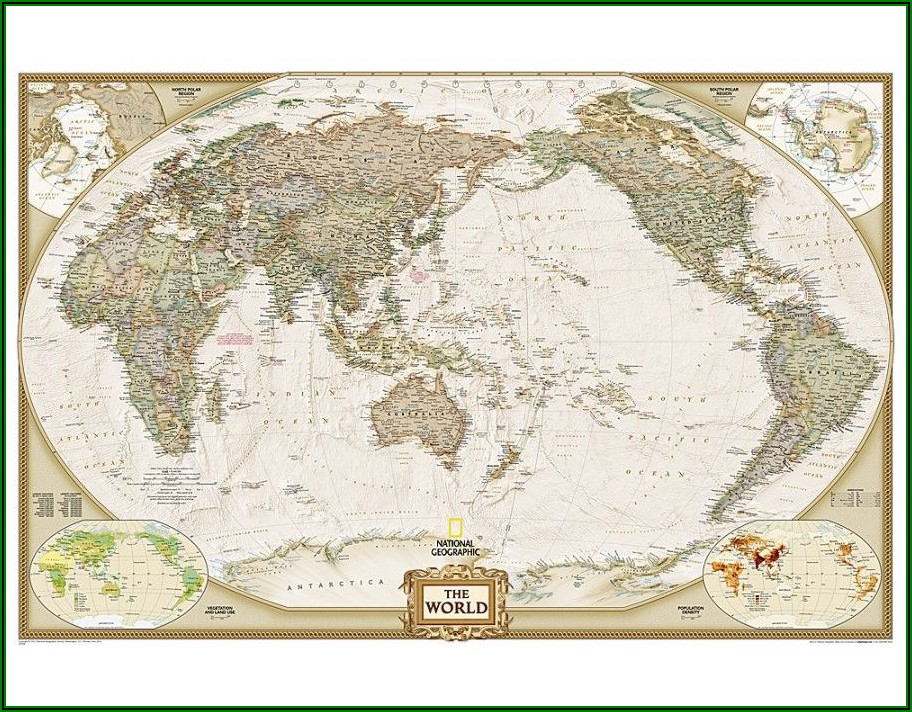 Large World Map Pacific Centered