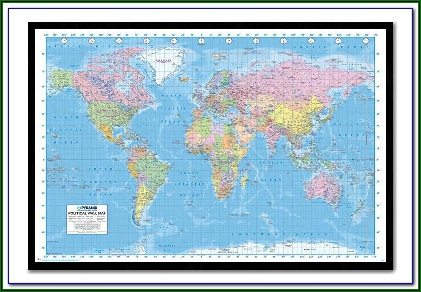 Large World Map Pinboard