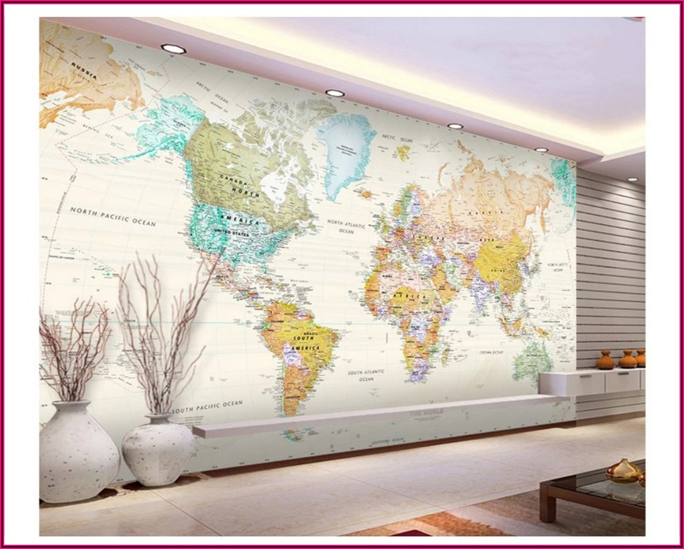 Large World Map Wallpaper Mural