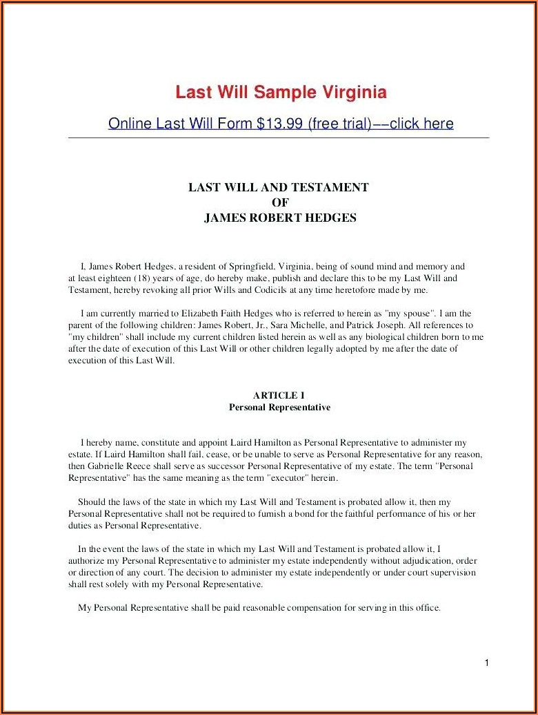 Last Will And Testament Form Word Document Virginia
