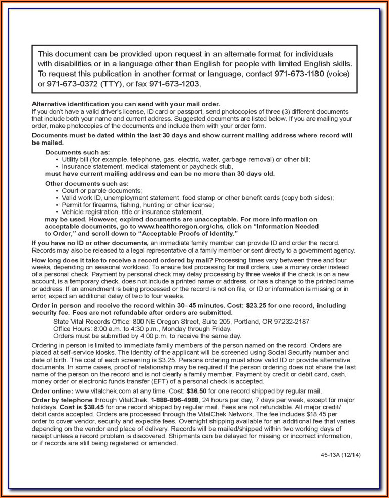 Liberia Birth Certificate Form