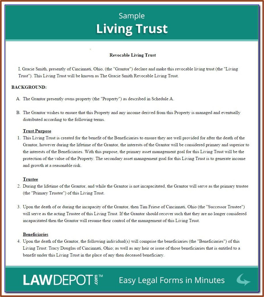 Living Trust Florida Free Forms