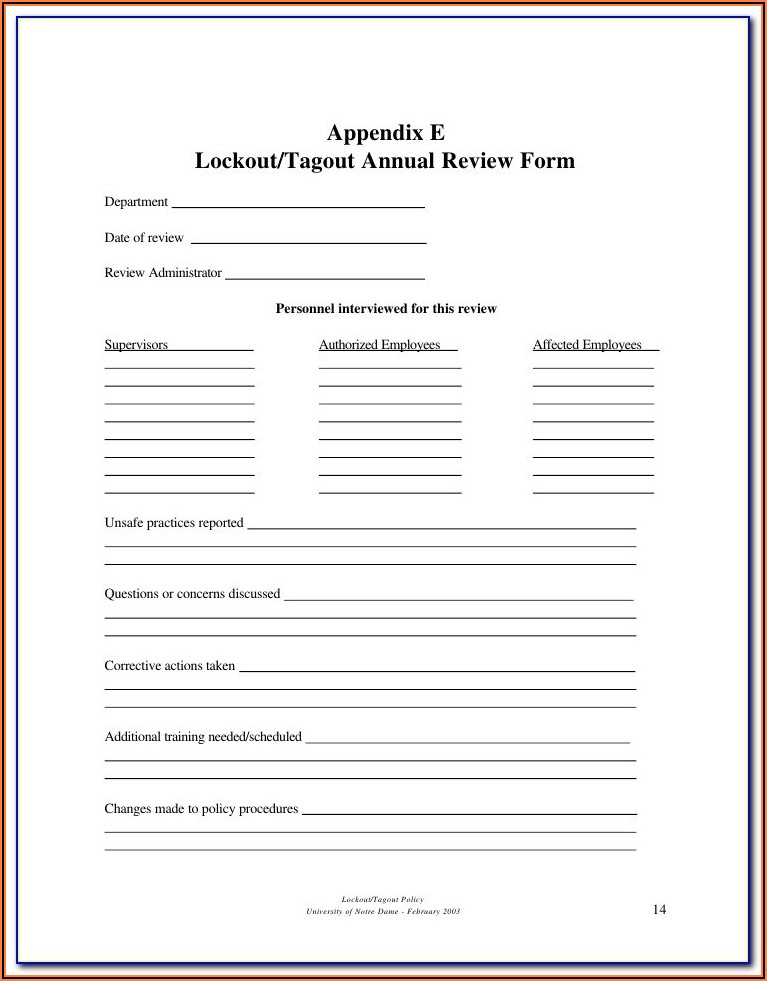 Lockout Tagout Certification Form