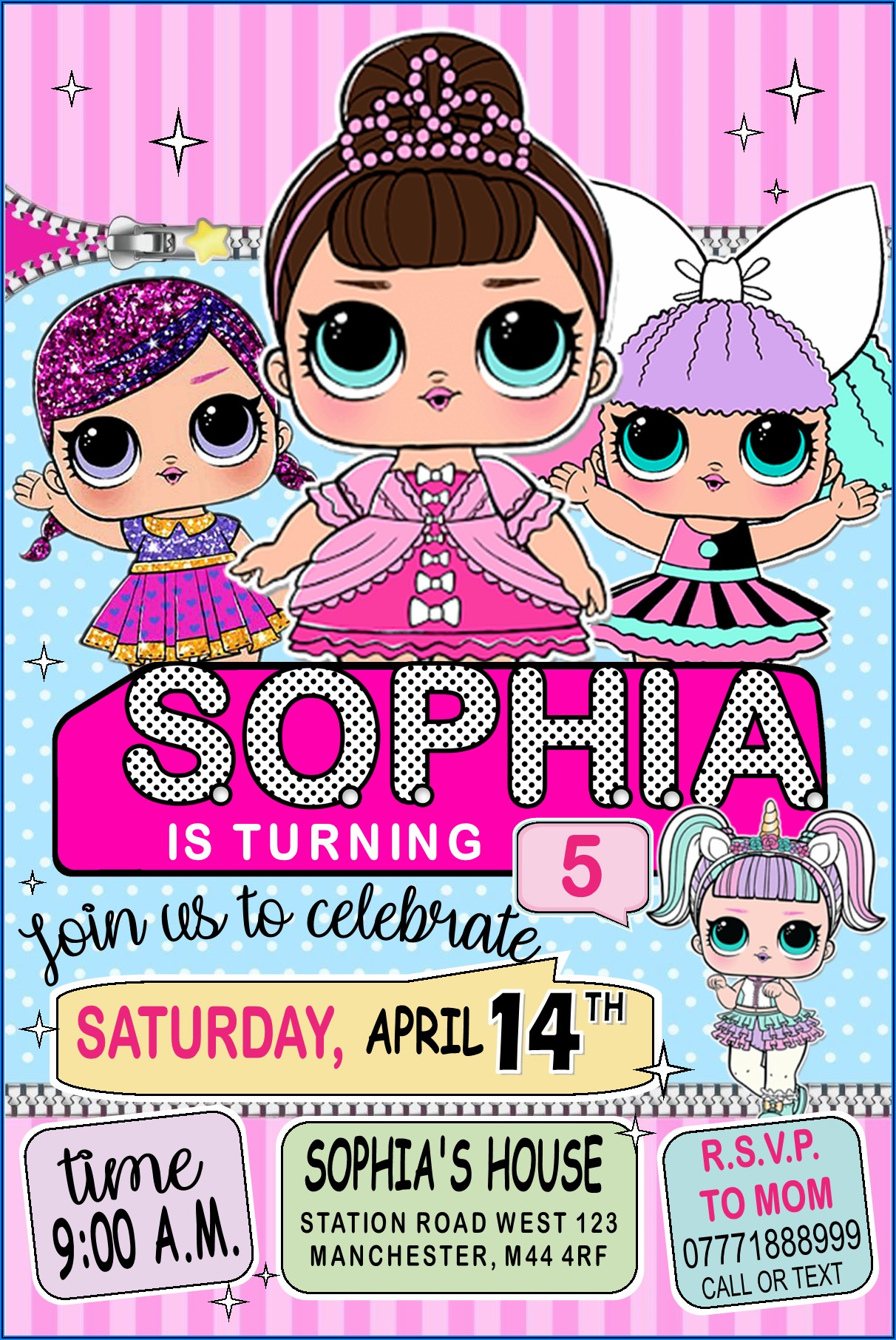 Lol Surprise 7th Birthday Invitation