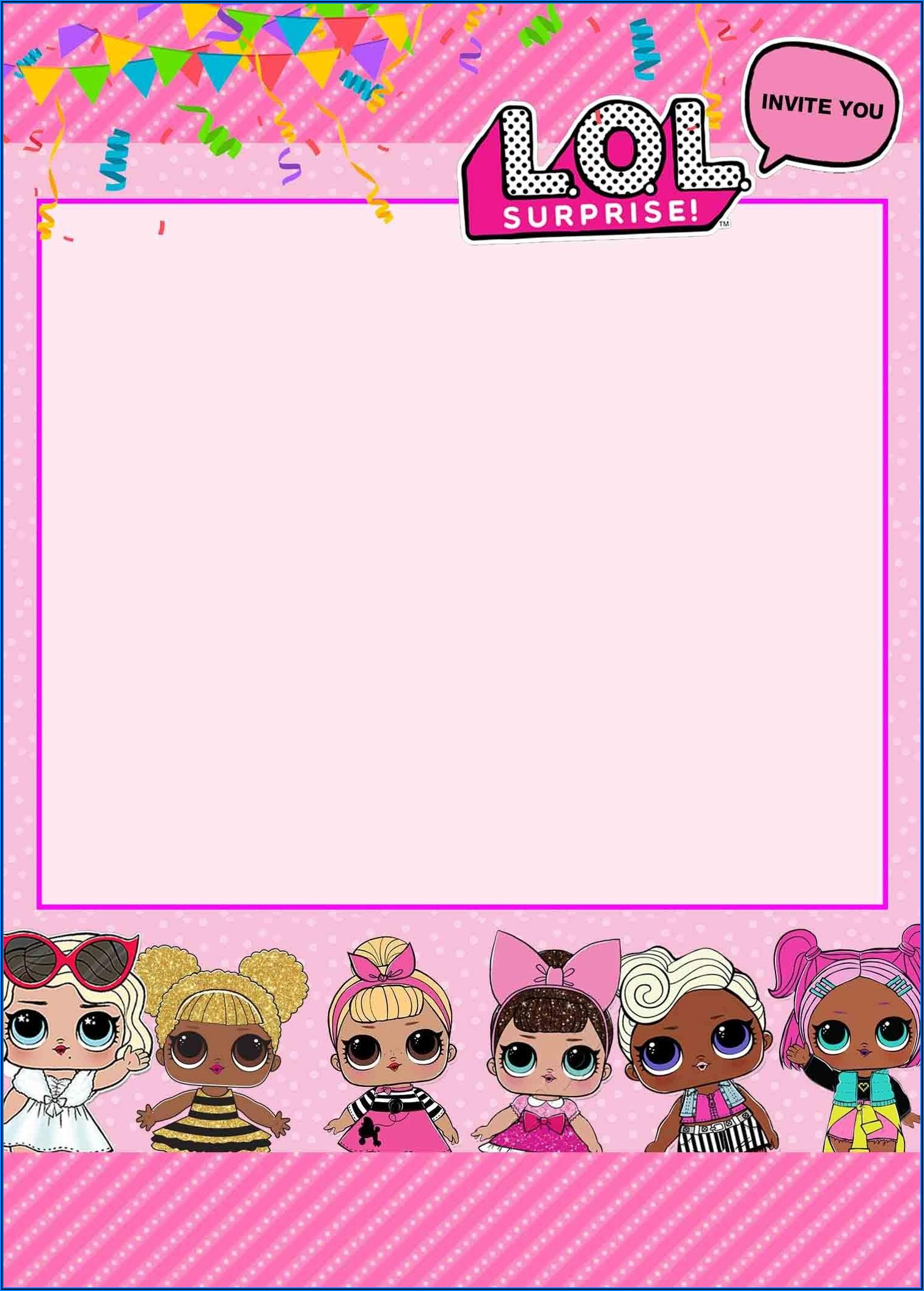 Lol Surprise Doll Birthday Invitation Template