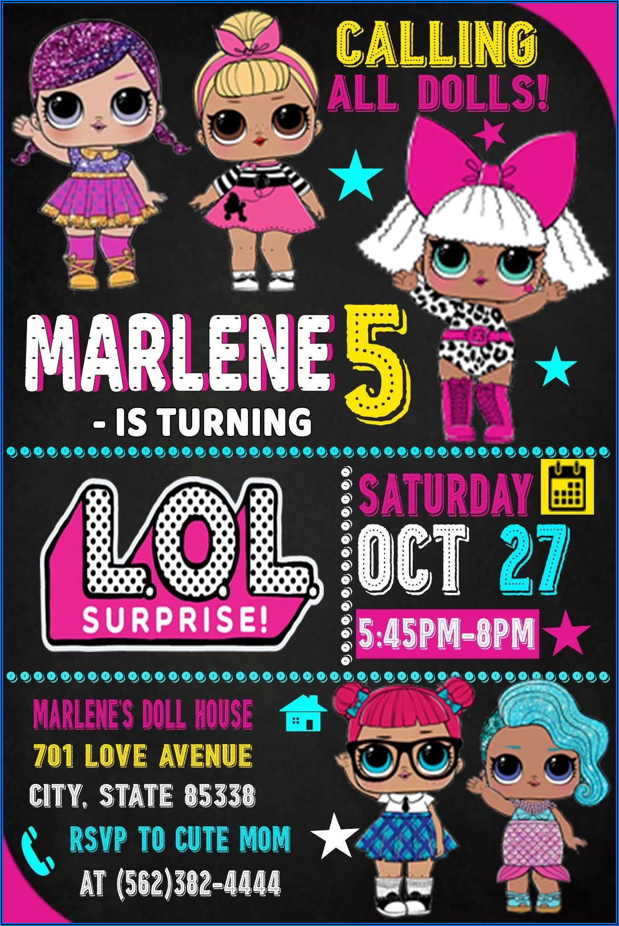 Lol Surprise Doll Birthday Invitations
