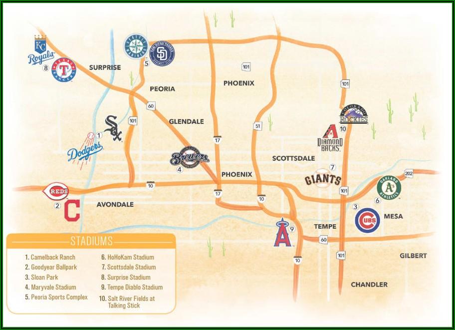 Map Of Baseball Stadiums In Phoenix