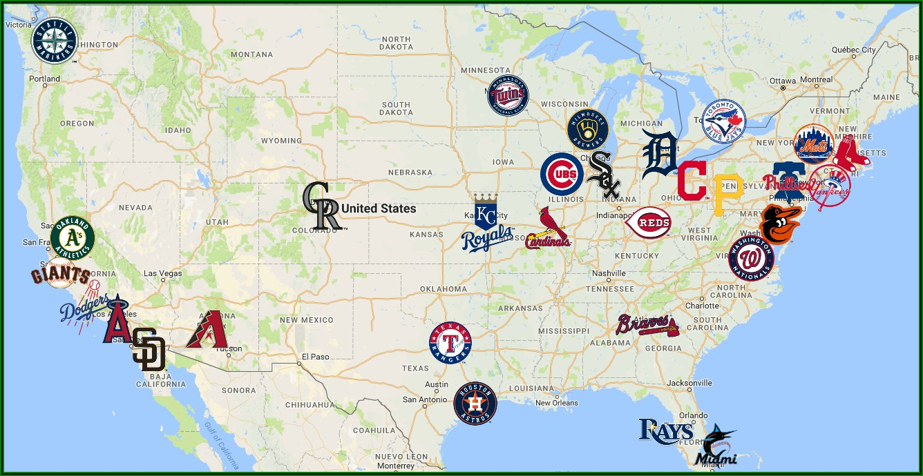 Map Of Baseball Stadiums In Usa