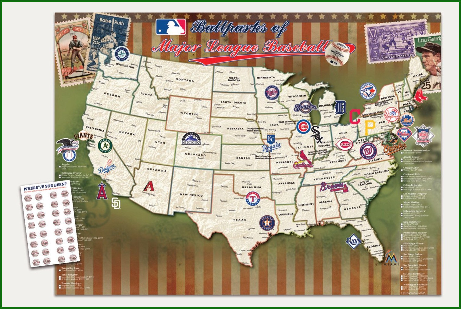 Map Of Baseball Stadiums Visited