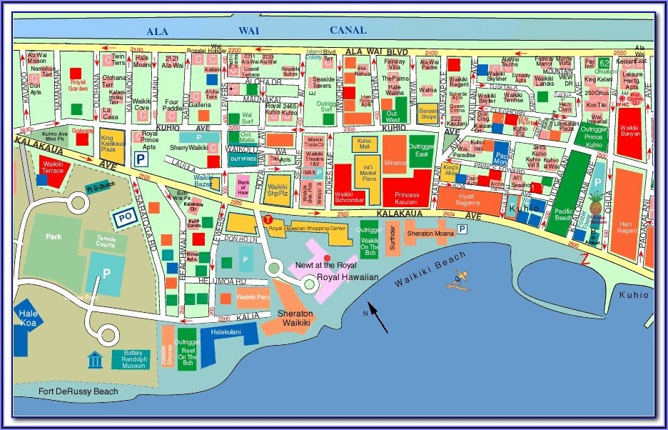 Map Of Beachfront Hotels Waikiki Beach