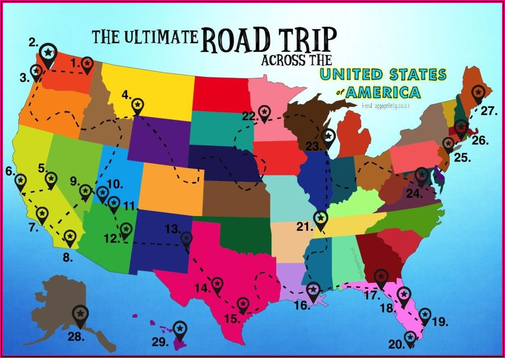 Map Of Driving Across America