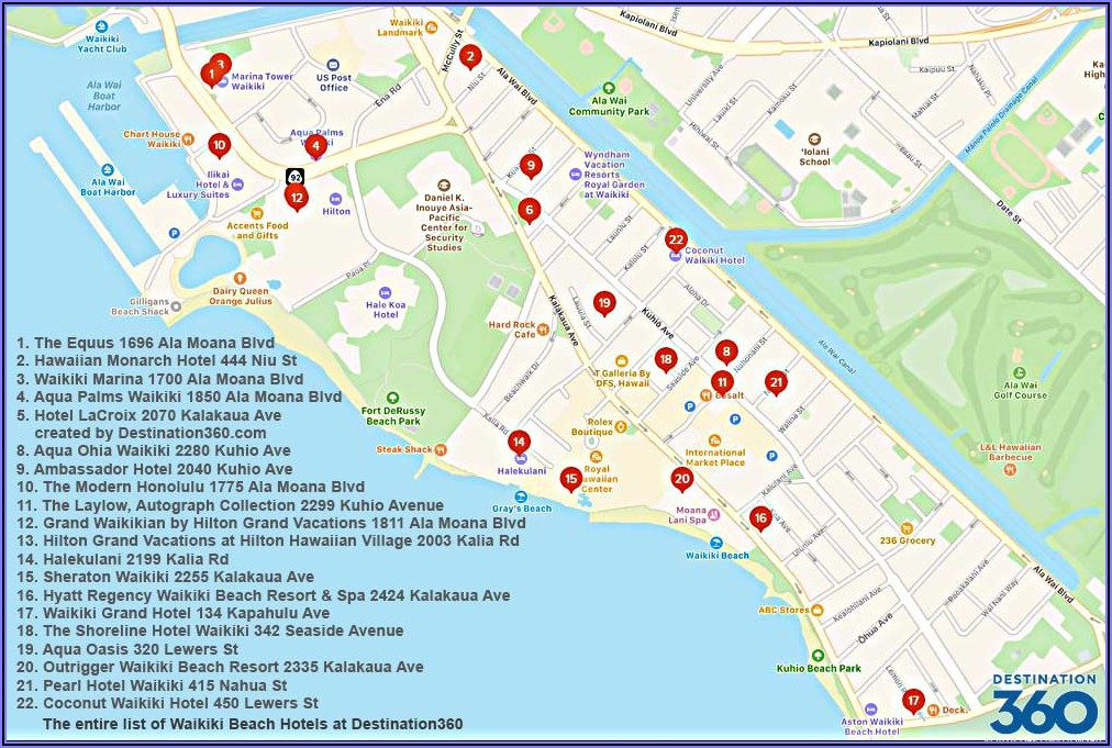 Map Of Hilton Hotels Waikiki