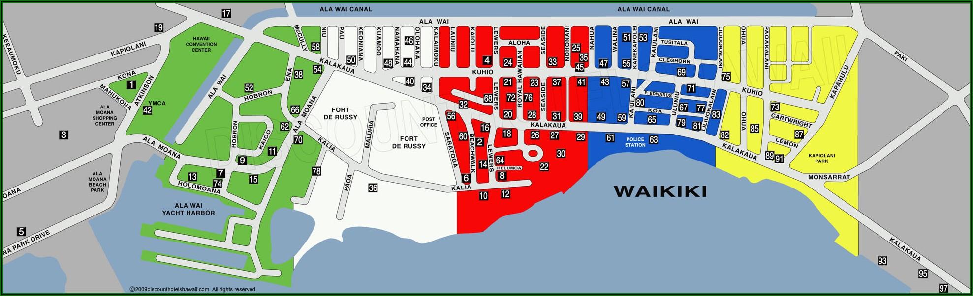 Map Of Hotels Along Waikiki Beach