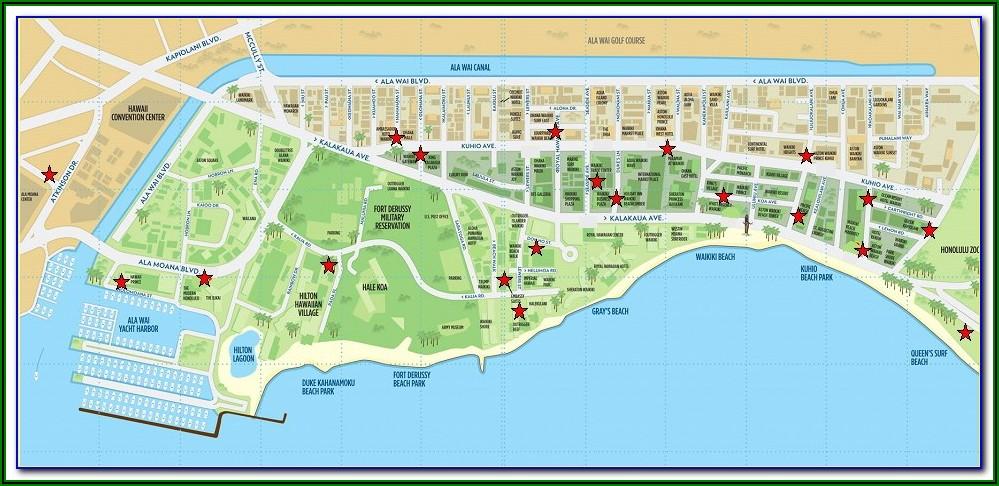Map Of Hotels In Waikiki Beach