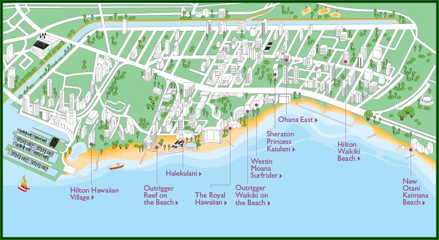 Map Of Hotels In Waikiki On Beachfront