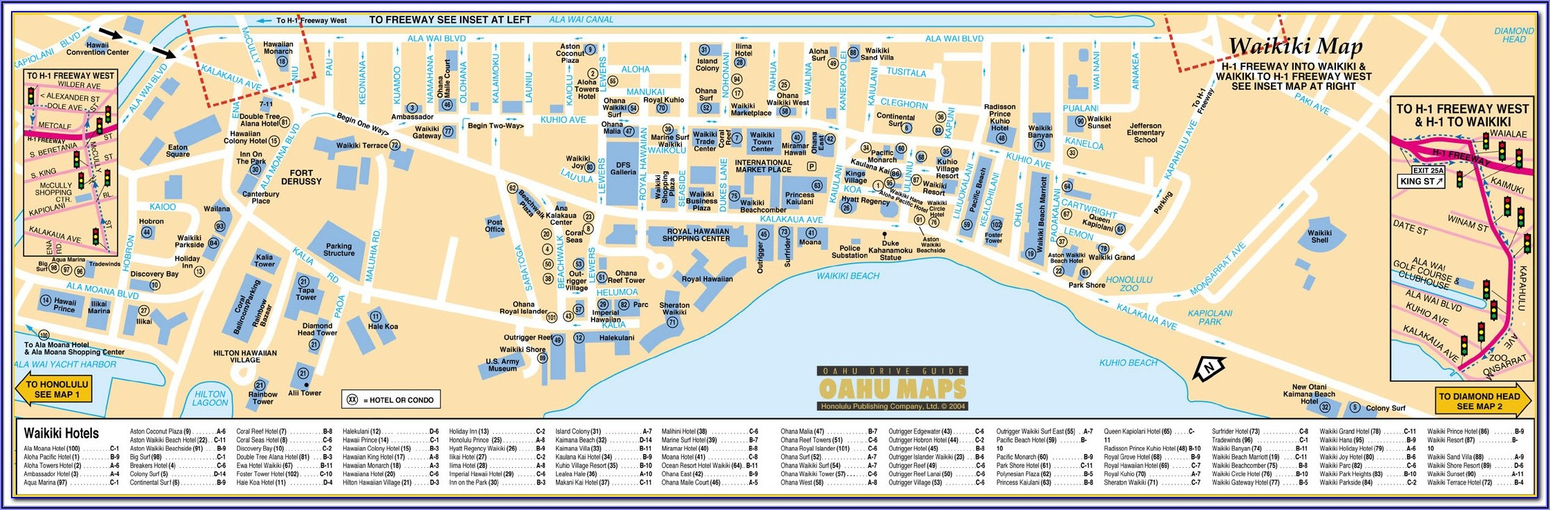 Map Of Hotels Waikiki Honolulu