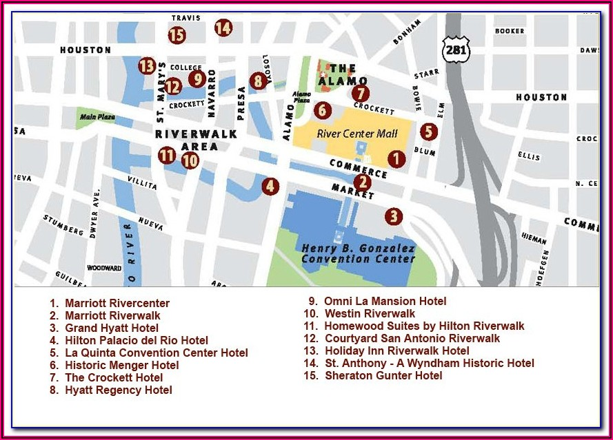 Map Of Riverwalk San Antonio Hotels