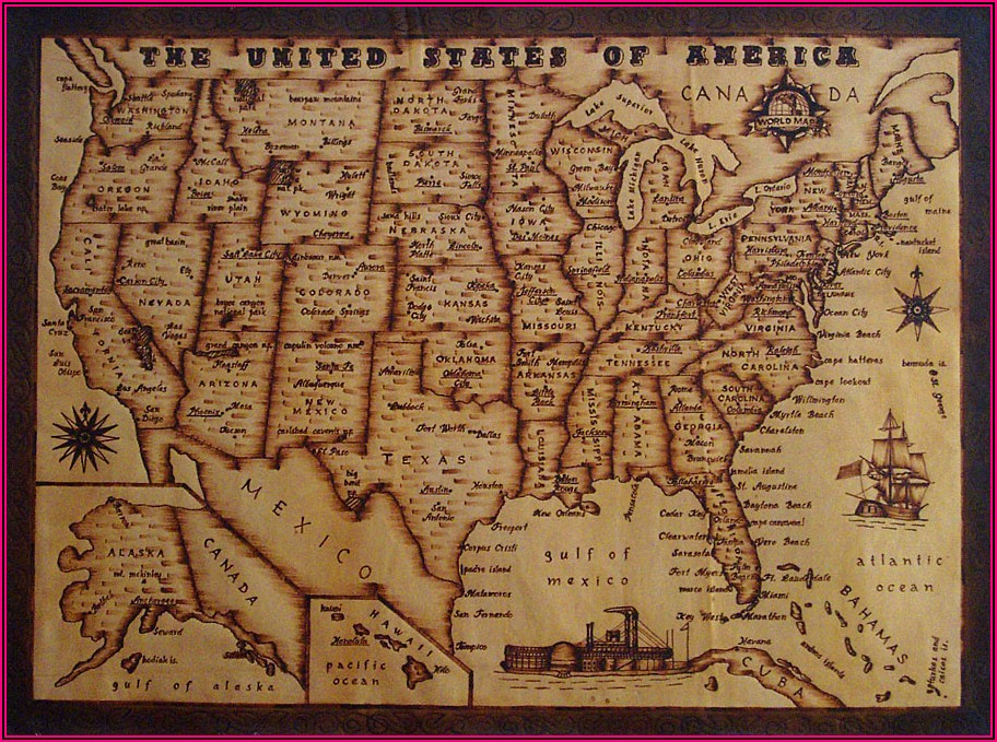 Map Of United States With States And Capitals Labeled
