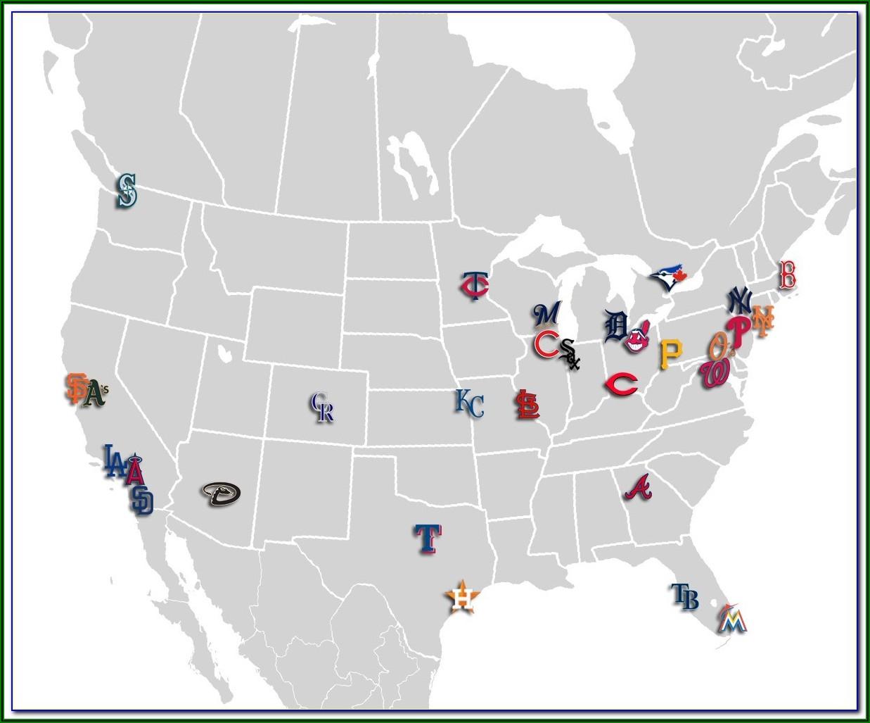 Map Of Usa Mlb Stadiums