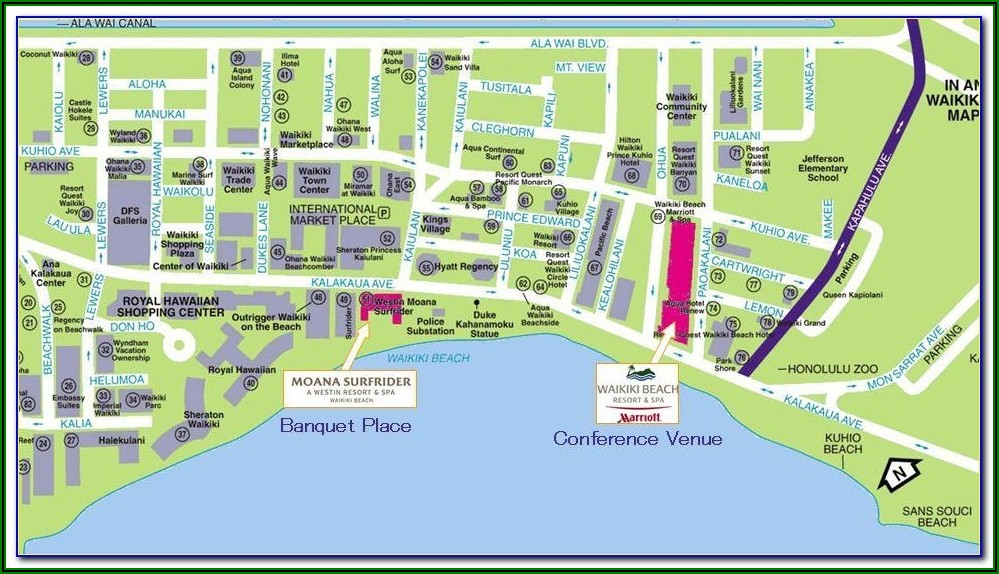 Map Of Waikiki Beach Showing Hotels