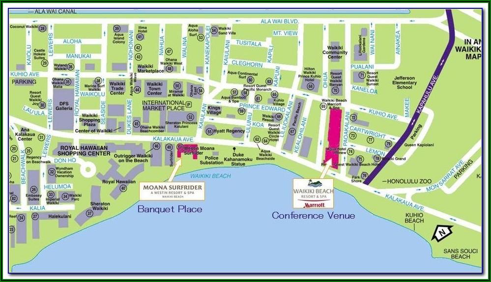 Map Of Waikiki Beach Showing Hotels