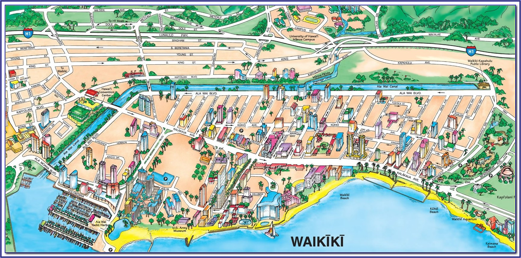 Map Of Waikiki Hotels And Restaurants