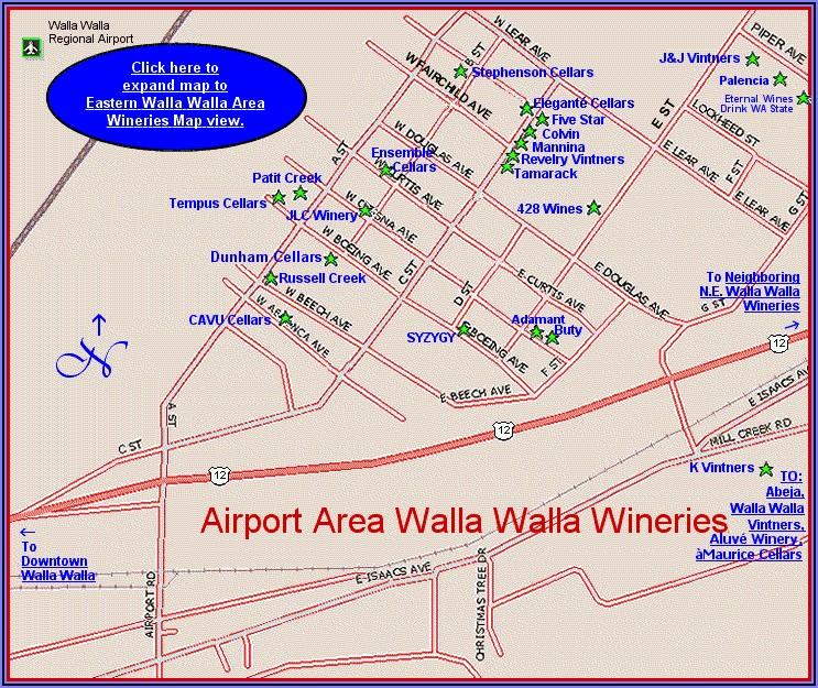 Map Of Wineries In Walla Walla Wa