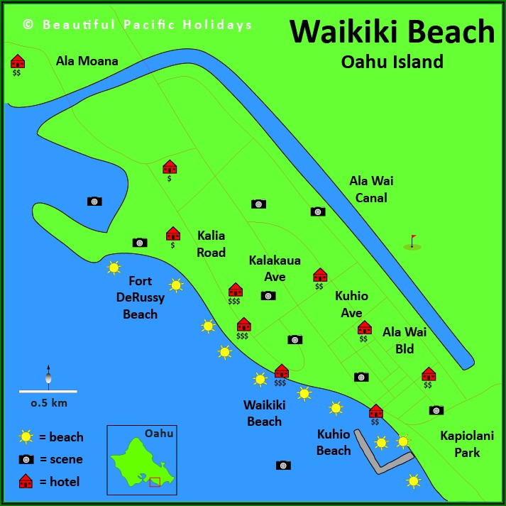 Map Waikiki Beach Hotels