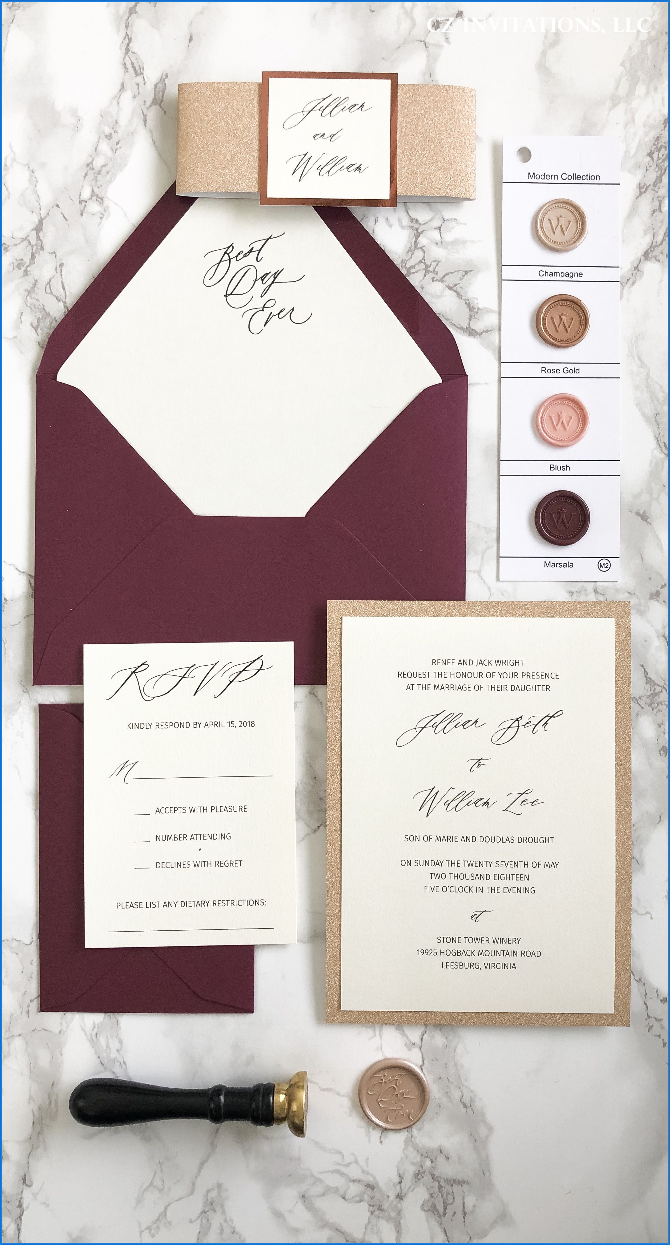 Maroon And Rose Gold Wedding Invitations