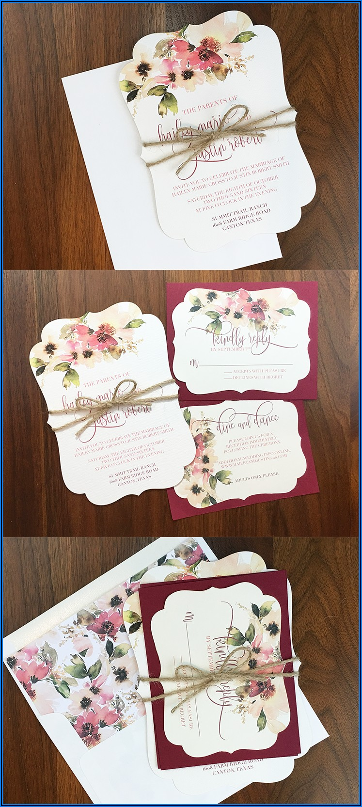 Maroon Rustic Wedding Invitations