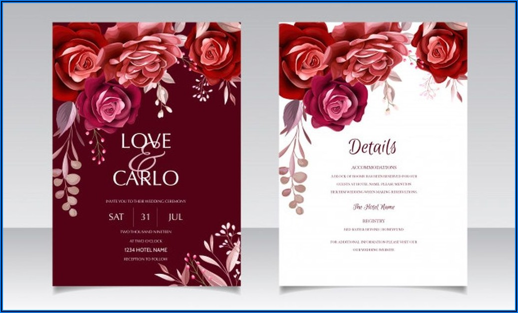 Maroon Wedding Invitation Template