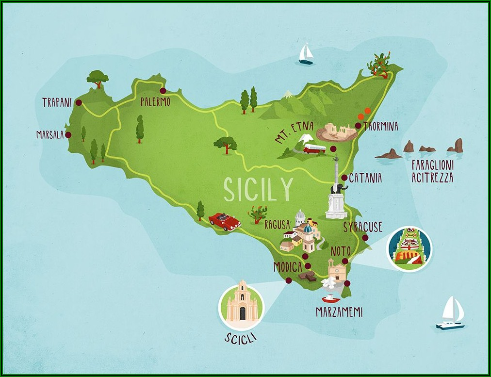 Marsala Sicily Tourist Map