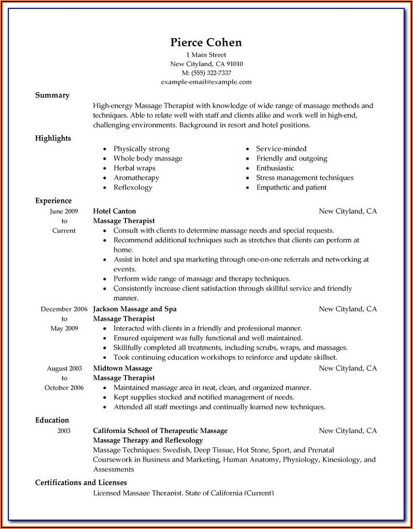 Massage Therapist Intake Forms