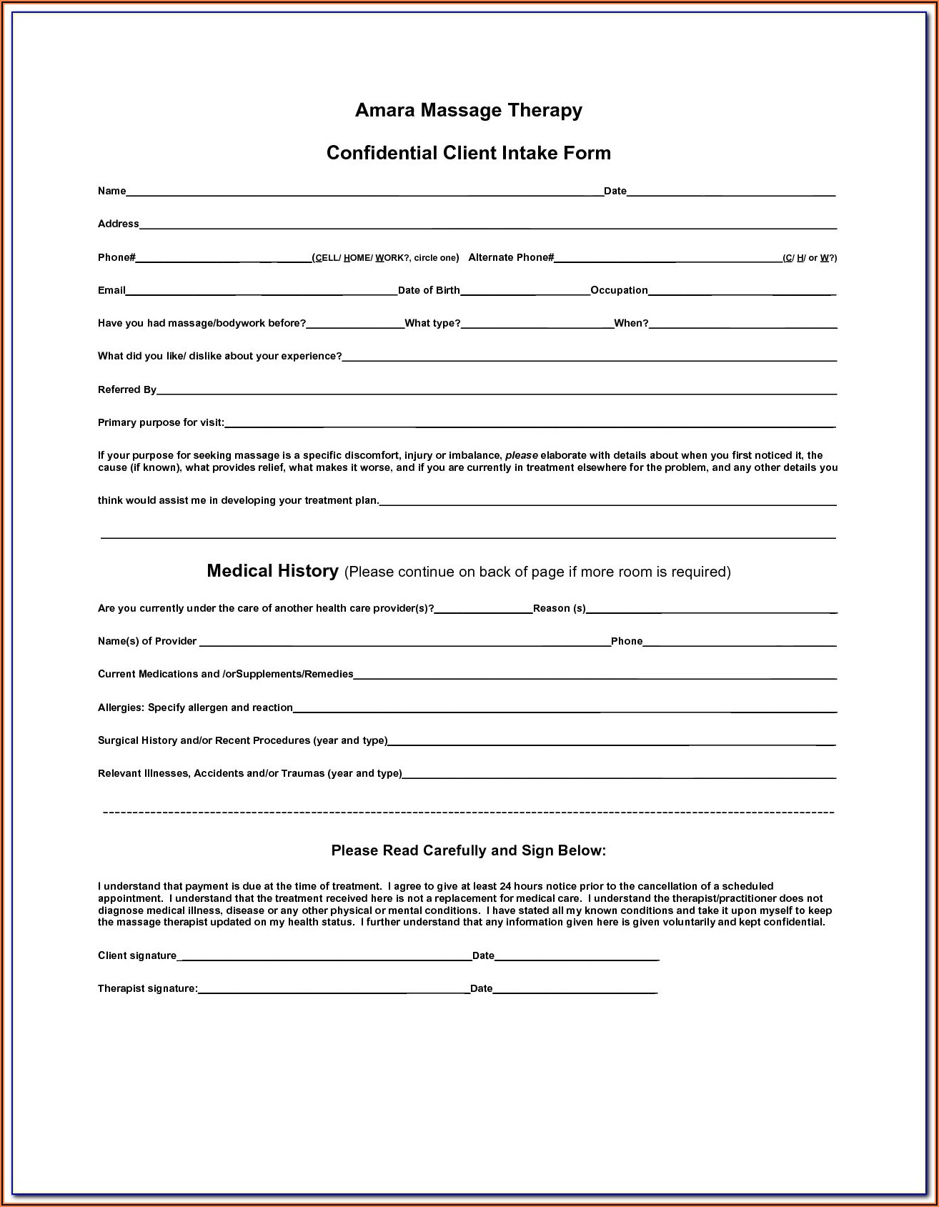 Massage Therapy Intake Form Word