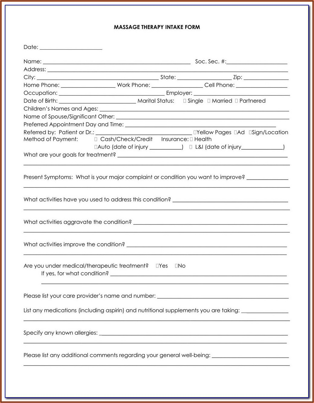 Massage Therapy Intake Forms Abmp