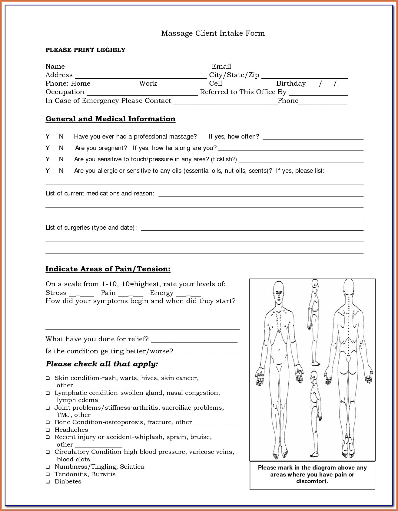 Massage Therapy Intake Forms Free