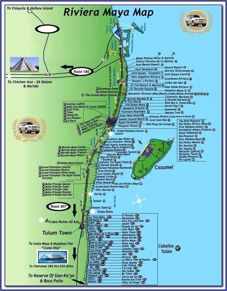 Mayan Riviera Hotel Map Locations