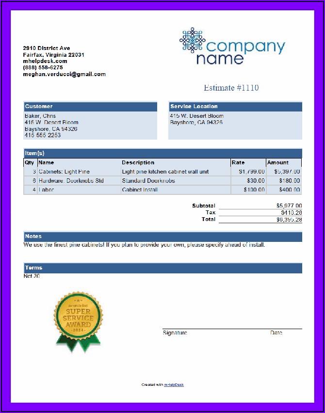 Mechanic Invoice Template Free