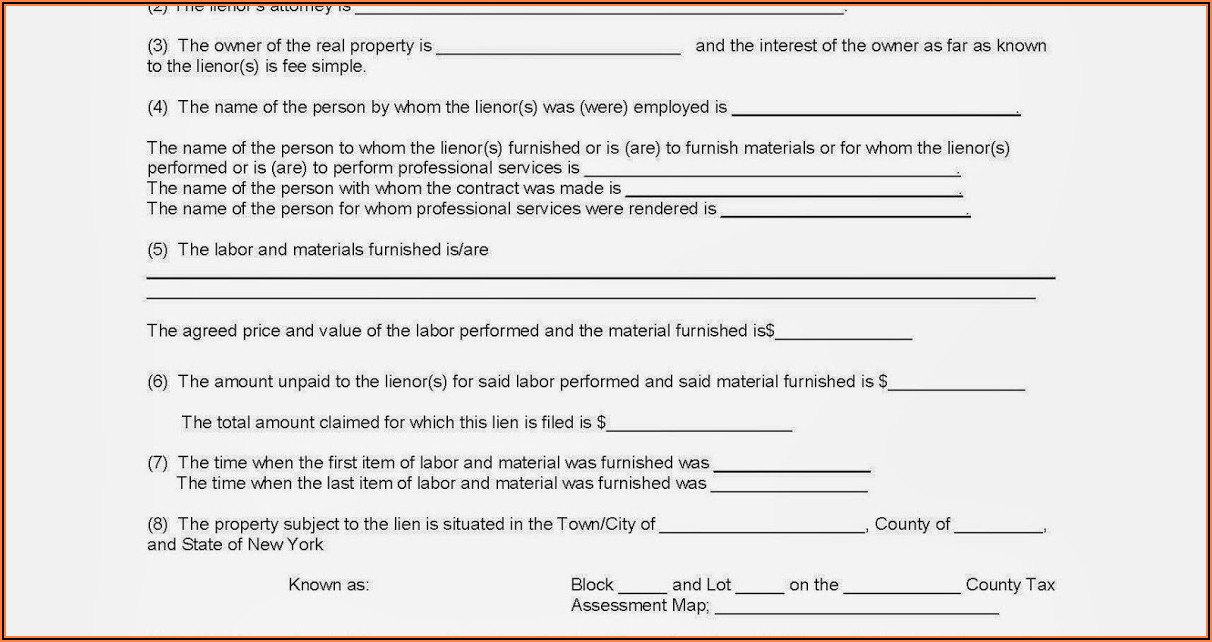 Mechanics Lien Forms Ny