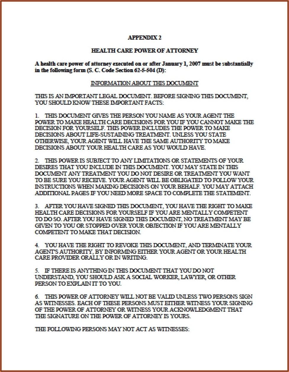 Medical Power Of Attorney Form South Carolina