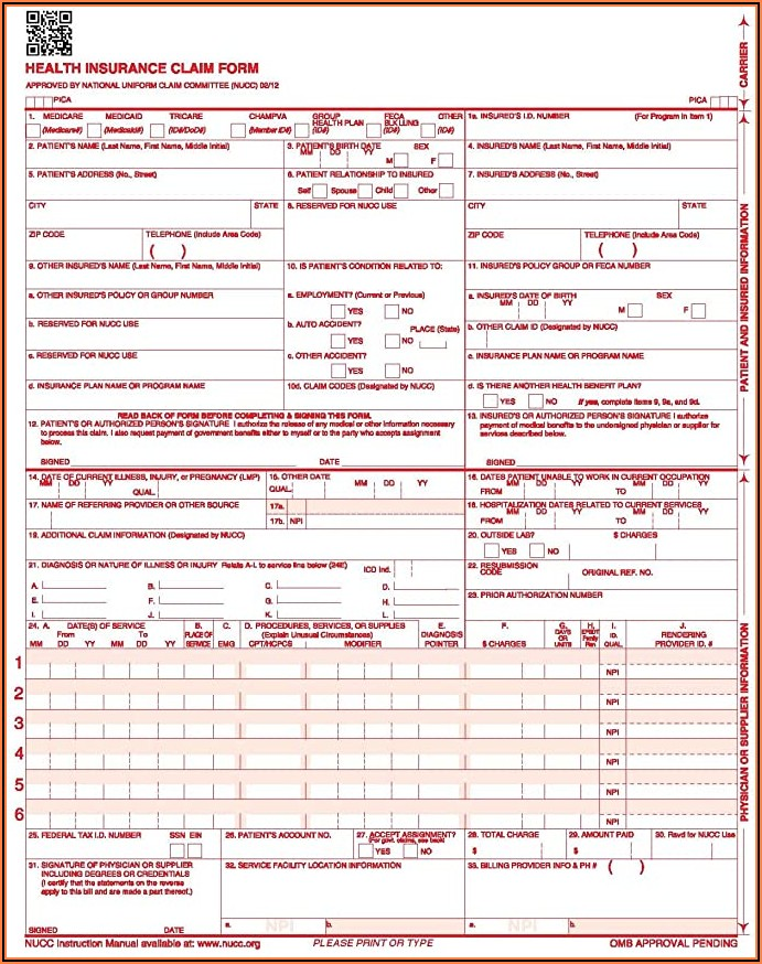 Medicare Part B 1500 Claim Form