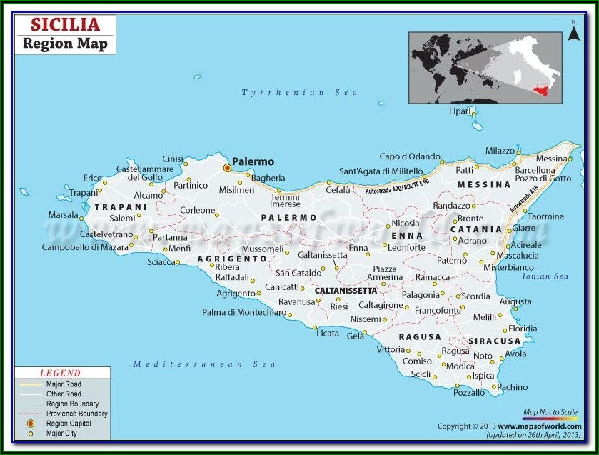 Messina Sicily Tourist Map