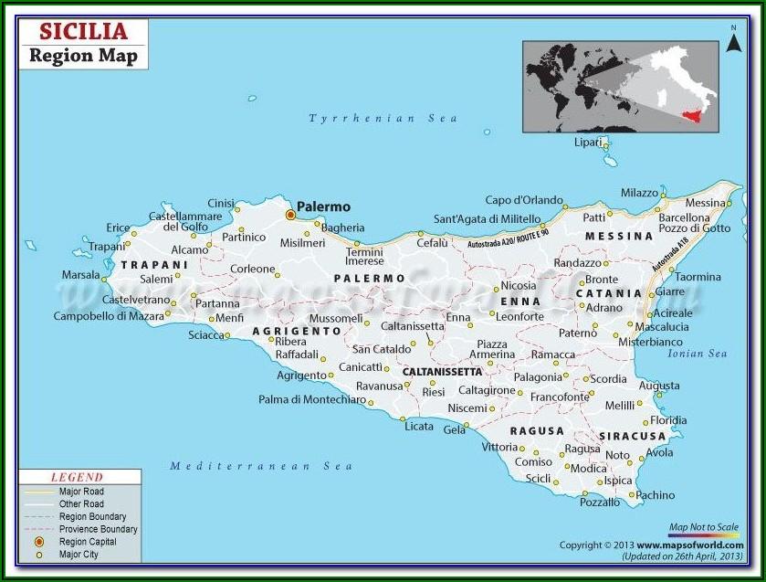 Messina Sicily Tourist Map