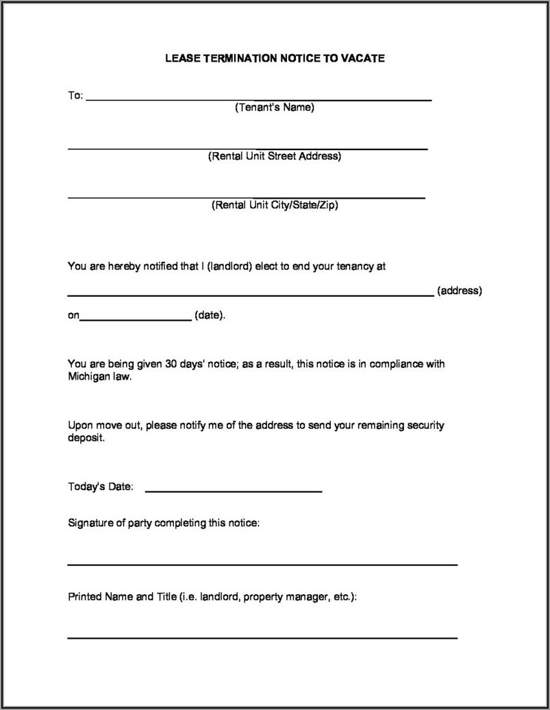 Michigan Notice To Vacate Form