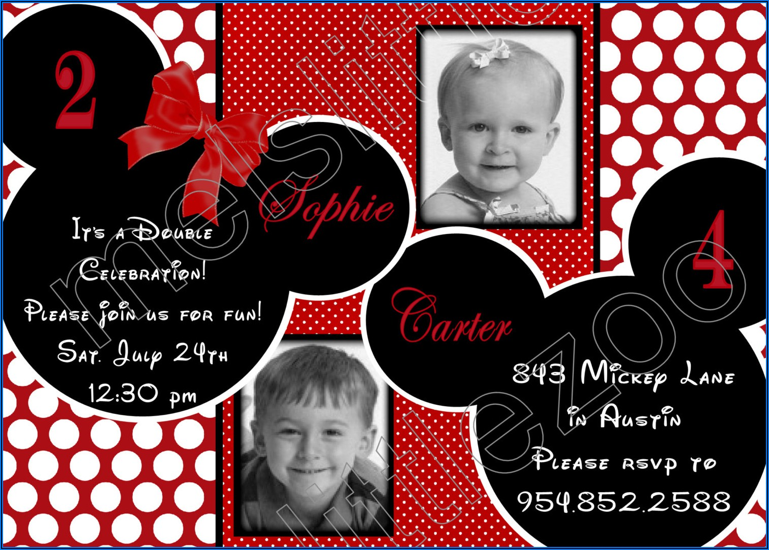 Mickey And Minnie Mouse Photo Birthday Invitations