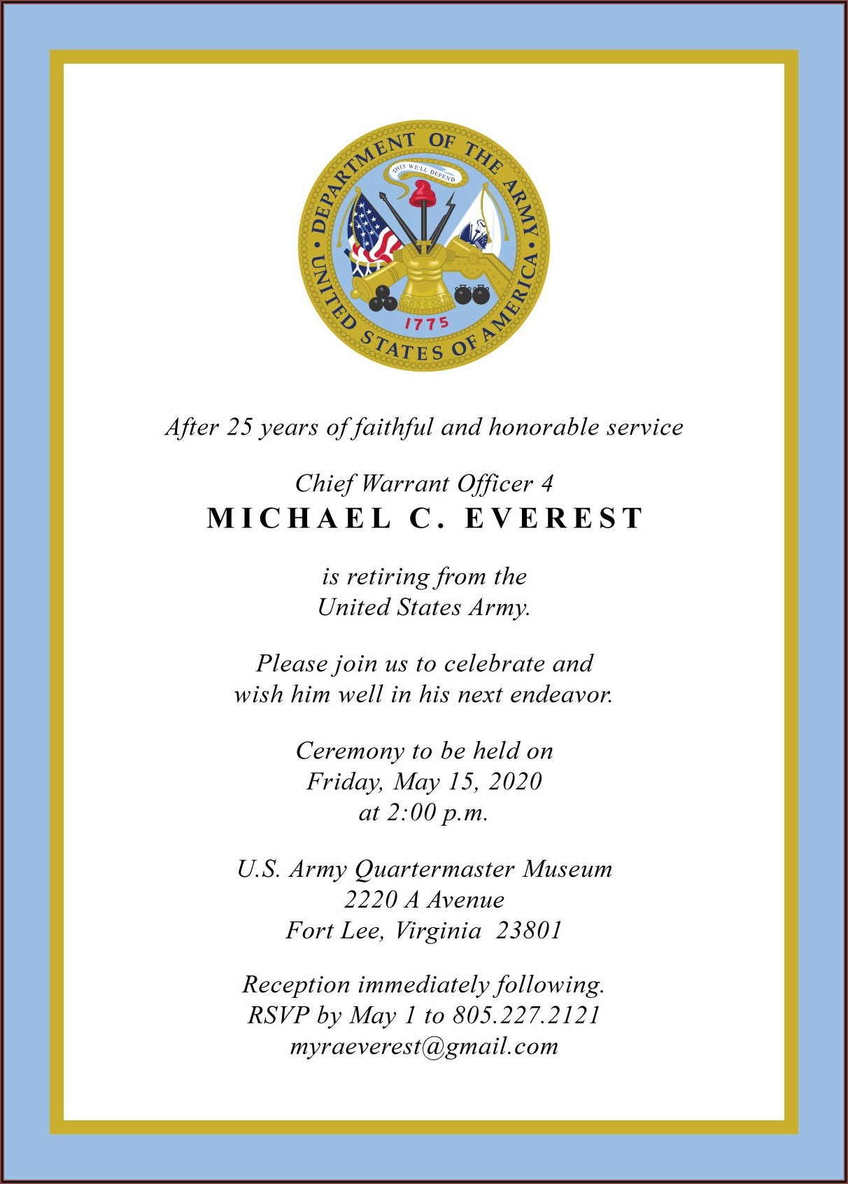 Military Retirement Ceremony Invitation Wording
