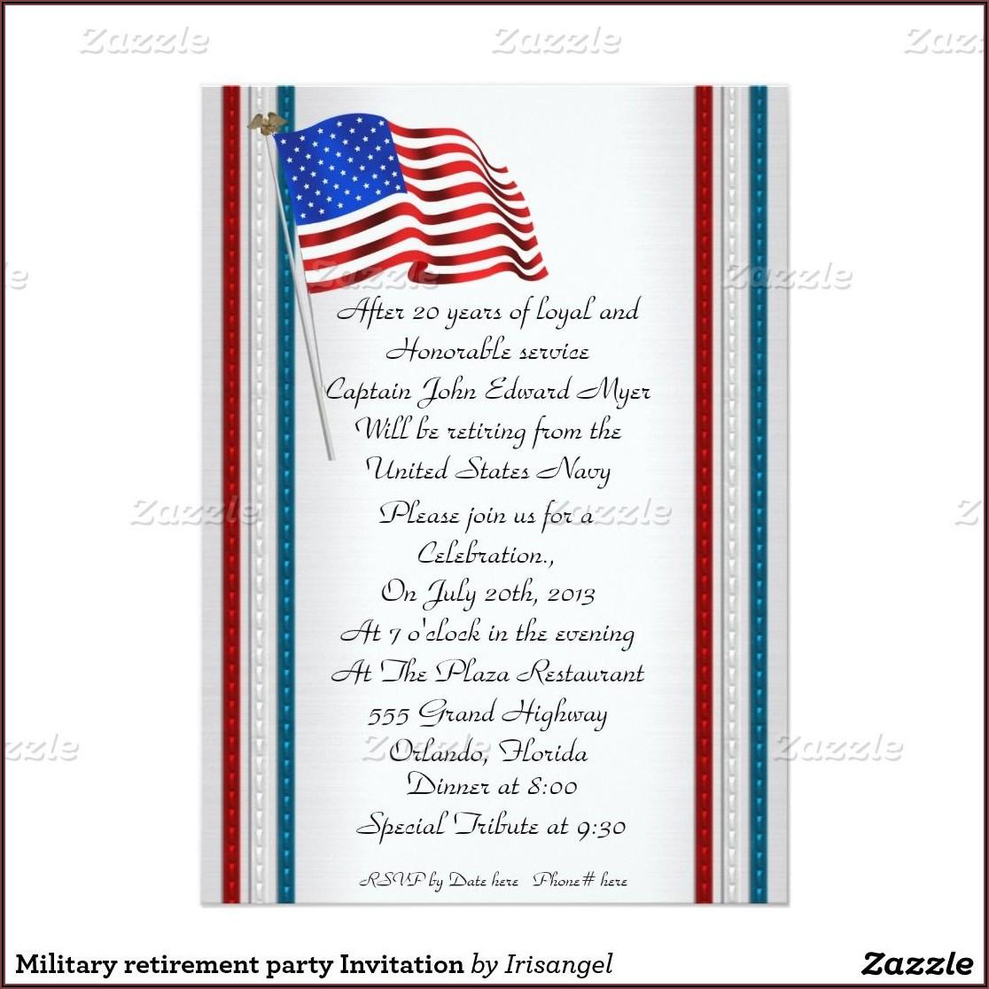 Military Retirement Invitation Wording