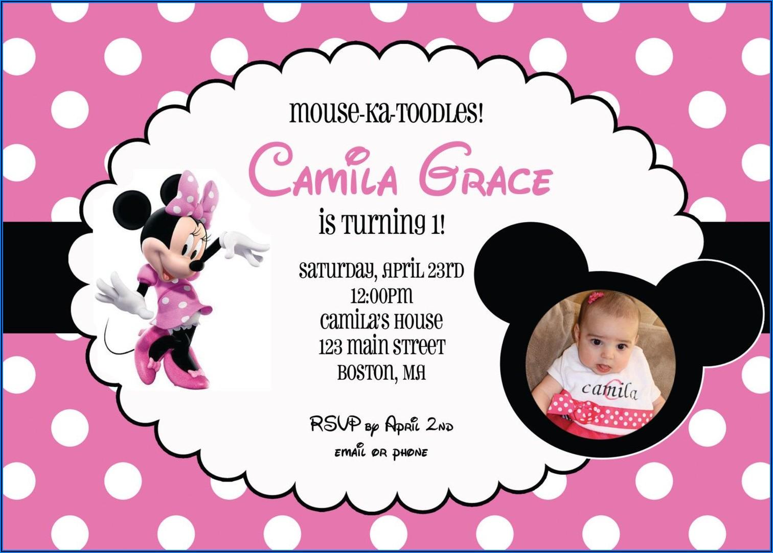 Minnie Mouse Birthday Invitations Blank