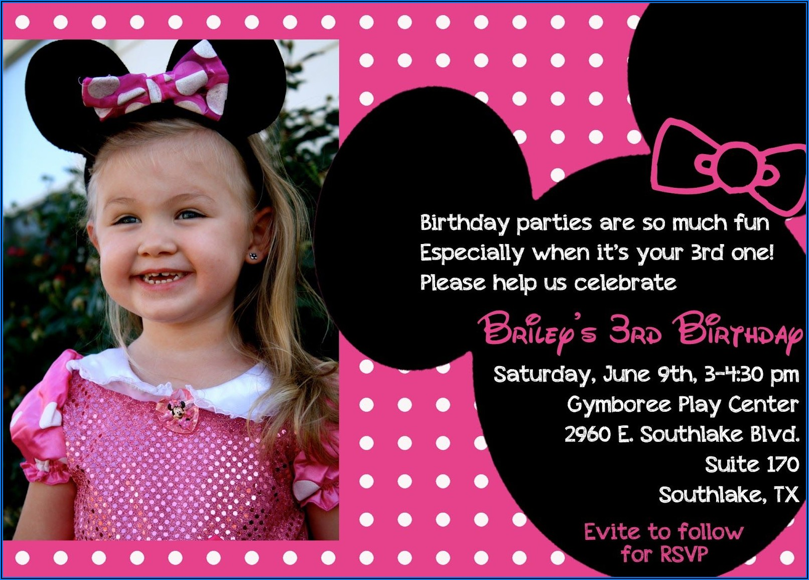 Minnie Mouse Birthday Invitations Evite
